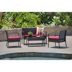 Andover Mills Roxana 4 Piece Rattan Sofa Seating Group with Cushions Cushion Color: Bright Red Outdoor Furniture Sets, Cushions For Sale, Rattan Sofa, Blue Chairs Living Room, Patio Seating, Sofa Set, Outdoor Sofa, Wicker Patio Sectional, Outdoor Sofa Sets
