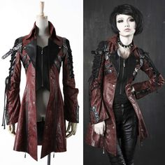 Designer Burgundy Faux Leather Gothic Calvary Trench Coats Men Women
