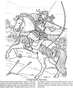 Female Samurai Warrior free sample coloring page from Dover Publications. I LOVE this...althogh I don't know if I have i in me to embroider something this detailed. We shall see.