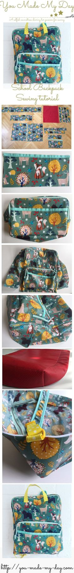 free backpack sewing tutorial and templates! made accessories sewing DIY Backpack – sewing tutorial & pattern Sewing Blogs, Easy Sewing Projects, Sewing Projects For Beginners, Sewing Hacks, Sewing Tutorials, Sewing Crafts, Sewing Tips, Bag Tutorials, Tutorial Sewing