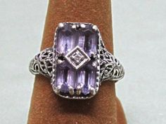 Sterling Silver Amethyst Filigree Ring by COBAYLEY on Etsy,