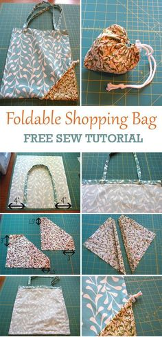 Compact Foldable Shopping Bag Tutorial You are in the right place about diy home decor Here we offer you the most beautiful pictures about the diy you are looking for. When you examine the Compact Foldable Shopping Bag Tutorial part of the[. Sewing Hacks, Sewing Tutorials, Sewing Crafts, Sewing Tips, Bag Tutorials, Fabric Crafts, Sewing Ideas, Crochet Design, Bag Patterns To Sew