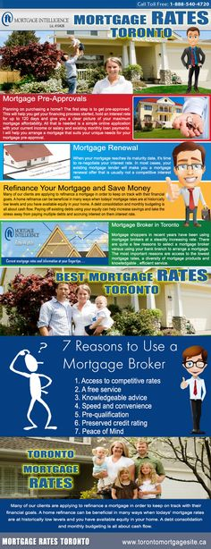 Visit our site http://www.yelp.ca/biz/mortgage-intelligence-inc-toronto for more  information on Toronto Mortgage Rates.The Mortgage Rates Toronto is the rates of  interest on a home loan. It can be specified as the cost that a debtor pays for a  financing that makes it possible for the borrower to buy real property or other real  estate. As each the home loan deal, the title of the residential property concerns  the loan provider till such time the financing is settled.