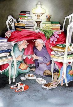 """ ~ Never Had Such A Laugh Over An Afternoon Tea ~ C.Crystal~ Illustrator: Inge Look~ Growing Old Disgracefully❤ Illustrator, Love Book, Old Women, Old Ladies, Book Worms, Tea Time, Tea Party, Book Art, I Am Awesome"