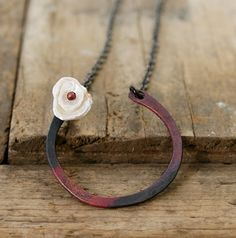 Dark copper torched metal retaining ring heishi by jennreeseSEVEN, $35.00 #gift #handmade #jewelry #necklace #pearl