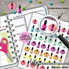 Planner Stickers, Nail Polish Stickers, Kawaii Stickers, Printable Stickers, Instant Download, Planner Accessories, Planner Goodies, Organizing Stickers, Fun Stickers, Erin Condren planner, Filofax, KikkiK, Lilipops, Let's Paper Up, Etsy
