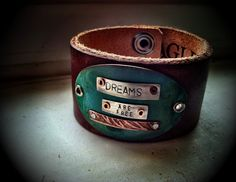 Dreams are Free Leather Cuff by ssdjewelry on Etsy, $84.00