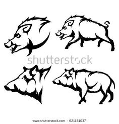Vector set of black wild boars and boar logo Isolated on white background