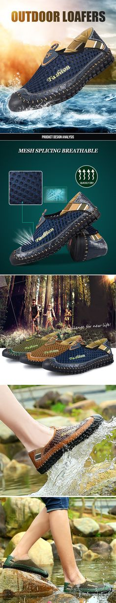 Men Stitching Anti-collision Toe Mesh Splicing Breathable Outdoor Loafers