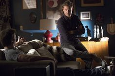 """The Vampire Diaries -- """"Christmas Through Your Eyes"""" -- Image Number: VD610b_0091.jpg -- Pictured (L-R): Ian Somerhalder as Damon (back to camera) and Matt Davis as Alaric -- Photo: Bob Mahoney/The CW -- © 2014 The CW Network, LLC. All rights reserved."""
