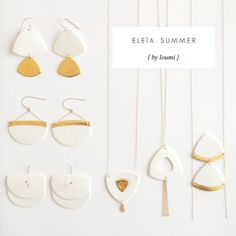 P a o l a Elegant summer earrings White & gold by byloumi