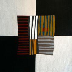 'Persistence' quilt by textile artist Karen Farmer. via the artist's site Neutral Quilt, Black And White Quilts, Geometric Quilt, Quilt Modernen, Textiles, Textile Fiber Art, Contemporary Quilts, Elements Of Art, Small Quilts