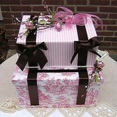 Wedding Card Money Box (But in Blue Toile and black ribbon)