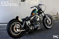 Shovelhead swingarm custom with bobbed rear fender, short z-bars | Yellow MC Customs in Japan