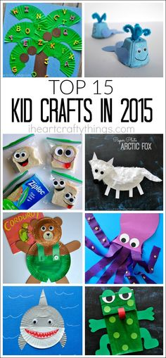 Here are the top 15, most viewed kid crafts in 2015 from I Heart Crafty Things. So many fun craft ideas to make with the kids this coming year. Crafts made from paper plates, cupcake liners, paper bag crafts, animal crafts and book related crafts for kids.