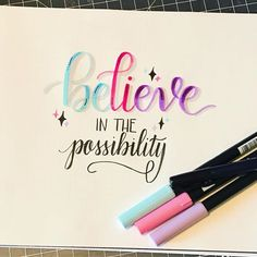 calligraphy quotes Inspiration Handlettering: believe in the possibility Calligraphy Quotes Doodles, Brush Lettering Quotes, Doodle Quotes, Calligraphy Handwriting, Hand Lettering Quotes, Creative Lettering, Calligraphy Letters, Typography, Art Quotes