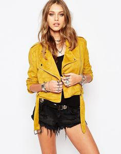 Missguided Suedette Buckle Biker Jacket