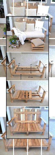 FREE GIVE AWAY 40 PLANS The best wooden outdoor furniture plans Showing The best wooden outdoor furniture plans Diy Sofa, Diy Furniture Couch, Furniture Making, Furniture Projects, Wood Projects, Origami Furniture, Crate Furniture, Building Furniture, Furniture Refinishing