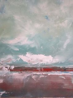 Abstract Seascape Ocean Painting Blue Sky Smiling by lindadonohue, $265.00