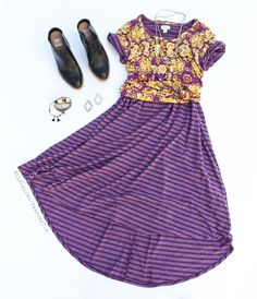 Layer your Carly dress! LuLaRoe Carly paired with a Classic Tee.
