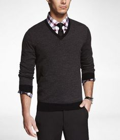 STRIPED MERINO WOOL V-NECK SWEATER at Express-