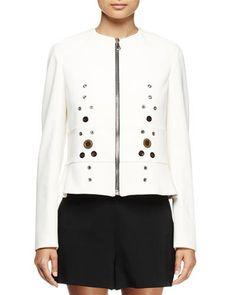 TTF09 Proenza Schouler Long-Sleeve Grommet-Detail Jacket, White