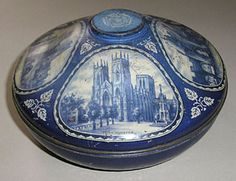 Old Blue Rowntree's Tin  This antique tin has 4 scenes from York including York Minster, Micklegate Bar, York from The Ouse and Bootham Bar. Also with the White Rose of York on the top.