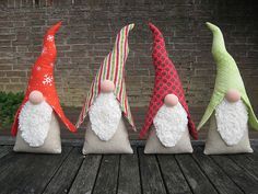 4 Christmas Gnomes in a Row: Love These Gnomes! Made from a German Magazine.