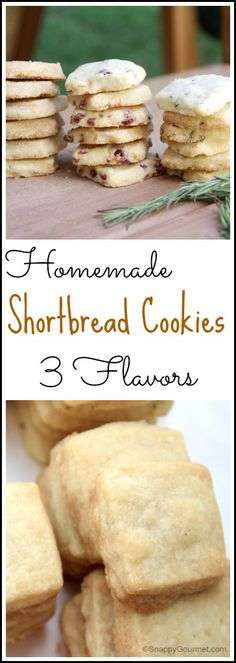 Shortbread Cookies - Snappy Gourmet Shortbread Cookies, an easy cookie recipe with 3 flavors to choose from including Vanilla Cardamom, Orange Cranberry, and Lemon Rosemary. Easy Shortbread Cookie Recipe, Rosemary Shortbread Cookies, Scottish Shortbread Cookies, Homemade Shortbread, Shortbread Recipes, Easy Cookie Recipes, Yummy Cookies, Baking Recipes, Orange Cranberry Shortbread Cookies
