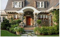 Stone House 'Happy Hollow' - Oak Hill Architects, oakhillarchitects.com - Eric Roth Photography, ericrothphoto.com - more photos here: http://hookedonhouses.net/2012/12/16/happy-hollow-a-gambrel-style-house-guest-cottage/