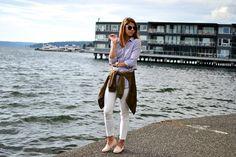 white pants, bomber jacket | fishbowl fashion