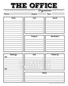 The Office Organizer 2 - planner page, work planner, office planner, to do, planner, printable planner page, office organiser - Editable