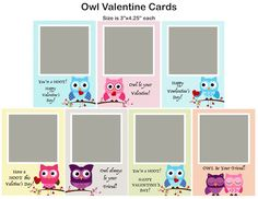 OWLS VALENTINE'S DAY CARD PHOTOSHOP TEMPLATE Box Design Templates, Psd Templates, Valentines Day Card Templates, Inside The Box, Custom Cards, Word Art, Owls, Digital Scrapbooking, Photoshop