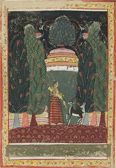 Todi Ragini, illustration from a Ragamala (Garland of Melodies) Series, Malwa, India ca, 1650