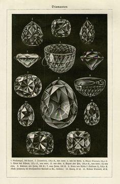 Vintage Antique Print 1898 DIAMONDS Crystals by VintageInclination