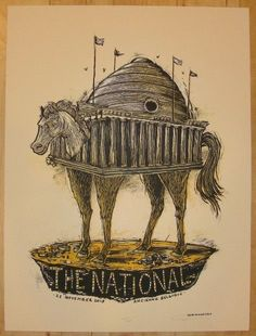 2010 The National - Brussels Concert Poster by Dan Grzeca