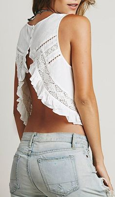 #stylish Free People - Sleeveless Lace Pieced Washed Tank