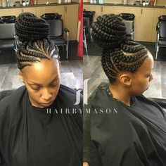 Feeder Braids Updo Click this image for more info. Cornrow Updo Hairstyles, Cornrows Updo, Braided Updo, Hairstyle Braid, Girl Hairstyles, Casual Hairstyles, Updos, Ghana Braids Updo, Big Braids