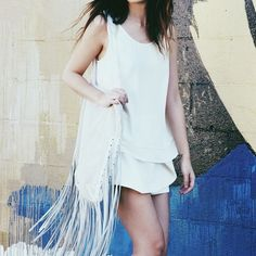 White BCBGeneration Fringe Bag Cool and trending white shoulder bag with fringe detail. Synthetic leather with genuine suede leather fringe. Complete your boho chic look! BCBGeneration Bags Shoulder Bags