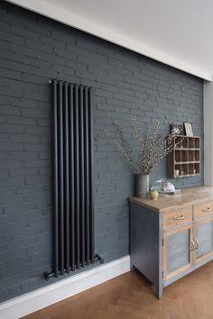Ideas For Kitchen Grey Brick Interior Design Brick Interior, Interior Paint, Interior Design, Dark Blue Walls, Dark Grey, Grey Walls, Painted Brick Walls, Paint Walls, Kitchen Wall Colors
