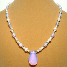 Pink Opalite and White Baroque Freshwater Pearl 17 inch Necklace | KatsAllThat - Jewelry on ArtFire