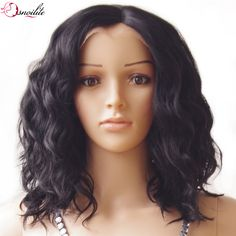 s-noilite 40cm Body Wave Bob Synthetic Hair Wig Natural Black Glueless Lace Front Wigs Heat Resistant Free Shipping