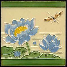 Water lily art nouveau tile