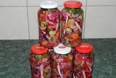 Retete Culinare - Salata asortata pentru iarna (reteta Motan) Romanian Food, Romanian Recipes, Pickels, Stay In Shape, Celery, Mason Jars, Good Food, Food And Drink, Favorite Recipes