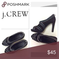 """8.5 J CREW suede open toe booties Brand: J Crew Material: suede upper, leather lined, leather soles Size: 8.5 Features: 4.5"""" heel with 3/4"""" platform, key hole detail with open toe, zip up back, metallic leather silver piping  EUC, very minor signs of wear, small indent to suede heel J. Crew Shoes Heels"""