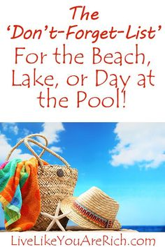 beachlist Family Packing List for the Beach, Lake, or Day at the Pool