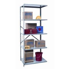 "Hallowell Hi-Tech Shelving Duty Open Type 4 Shelf Shelving Unit Add-on Size: 87"" H x 36"" W x 12"" D"
