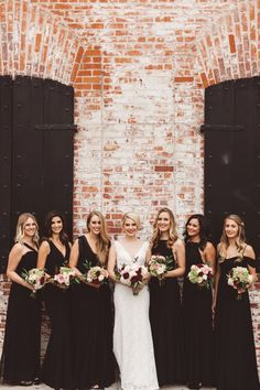 Chic And Timeless Black Bridesmaids' Outfits is part of Black bridesmaid dresses - There's nothing more flawless for bridesmaids' dresses than black black bridesmaids' dresses will fit many wedding styles and will flatter any complexion Black Lace Bridesmaid Dress, Bridesmaid Outfit, Black Wedding Dresses, Wedding Bridesmaid Dresses, Wedding Attire, Burgundy Wedding, Blue Wedding, Fall Wedding, Different Bridesmaid Dresses