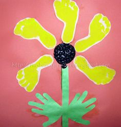 Handprint and Footprint Arts & Crafts: Footprint Sunflower Craft ~ baby feet!