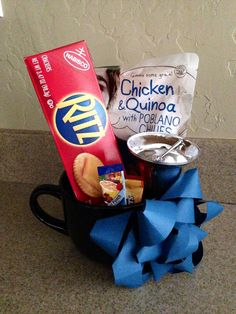 """DIY """"Get Well Soon"""" Care Gift Idea. Cambell's Soup Bag, Single Box Ritz, 1 Singles Crystal Light, 1 Singles Foldgers, and a Silver Hand Bell inside a large Soup Mug."""